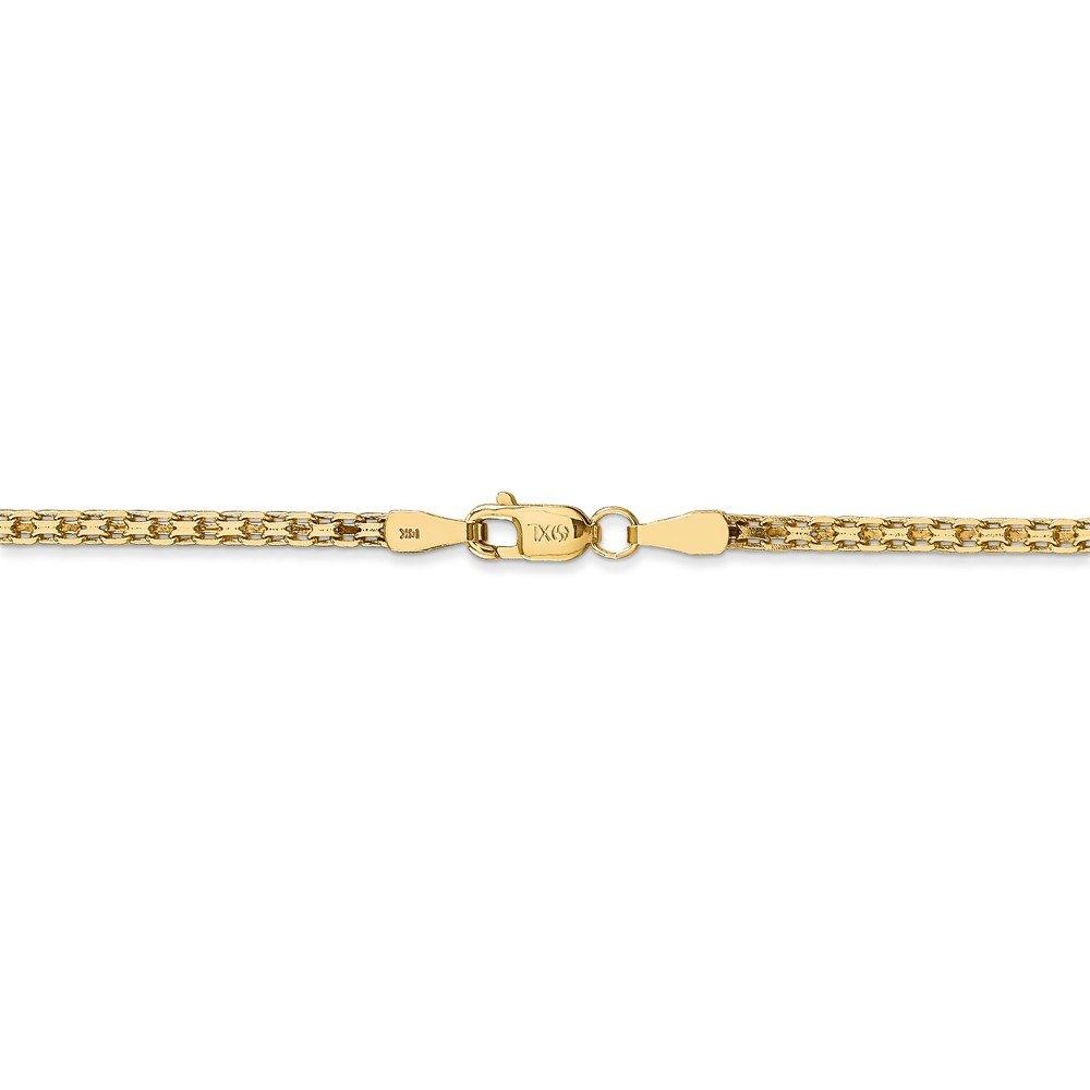 14K Yellow Neckalce 2MM 16 INCH Long 14k 2mm Light weight Hmade Flat Chain