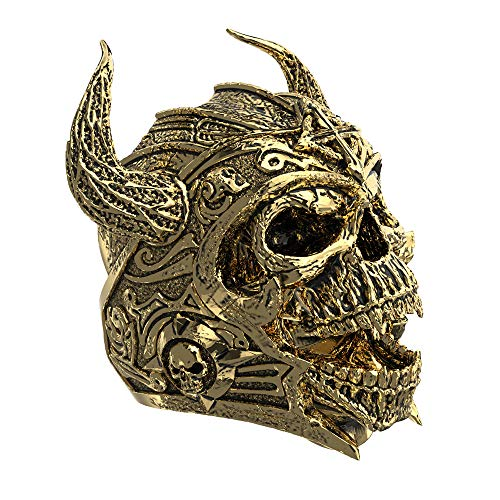 (Eejart 316L Stainless Steel Skull Ring Knights Templar Helmet Warrior Ring, the Premium Fashion Forward Band Ring for Man (Gold-Black, 14) )