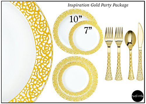 Royalty Settings Gold Inspiration Collection Plastic Plates and Cutlery Party Package for 120 Persons, Includes 120 Dinner Plates, 120 Salad Plates, 240 Forks, 120 Knives, 120 Spoons -