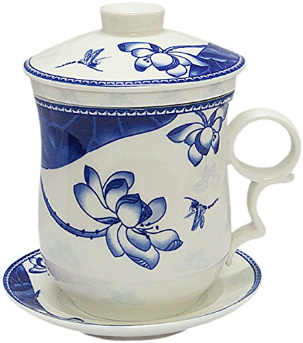 - BandTie Convenient Travel Office Ceramics Teacup Loose Leaf Tea Brewing System-Chinese Jingdezhen Blue and White Porcelain Tea Cup Infuser 4-Piece Set with Tea Cup Lid and Saucer (Lotus Blossom)