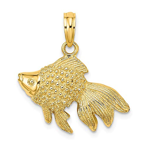 14k White Gold Textured Angel Fish Pendant Charm Necklace Animal Sea Life Fine Jewelry Gifts For Women For Her