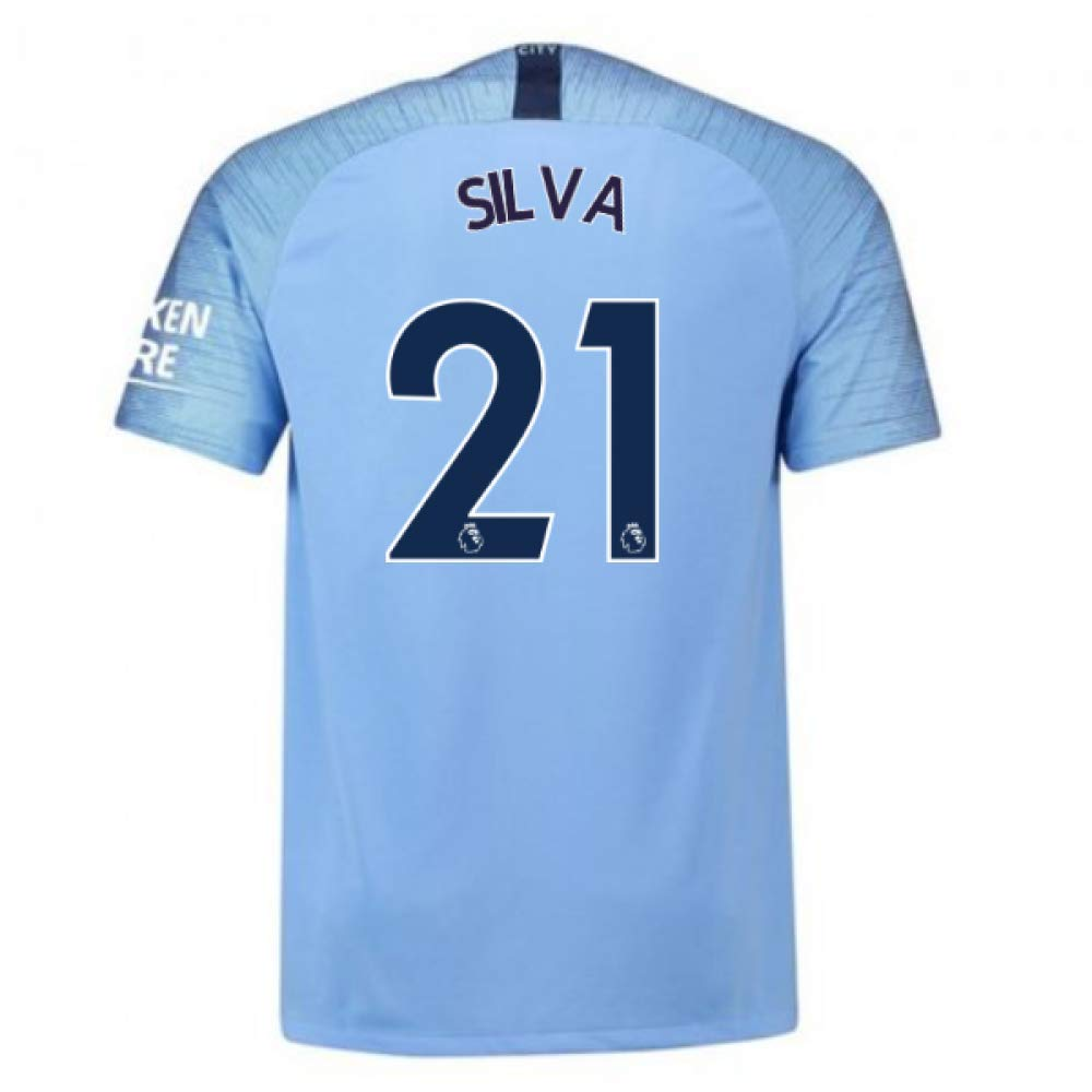 2018-2019 Man City Home Nike Football Soccer T-Shirt Trikot (David Silva 21) - Kids