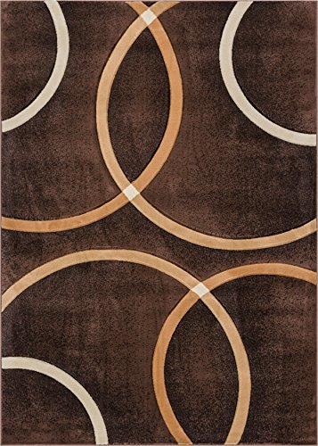 (Well Woven Circo Brown Modern Geometric Rings Circles Lines Hand Carved Modern Area Rug 3 x 5 (3'3