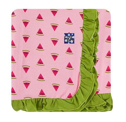 (Kickee Pants Custom Print Ruffle Toddler Blanket - Lotus Watermelon With Meadow Trim and)
