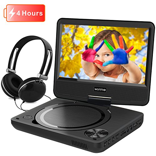 Price comparison product image WONNIE 7.5 Inch Portable DVD Player with Swivel Screen,  USB / SD Slot and 4 Hours Rechargeable Battery,  Perfect Gift for Kids ( Black )