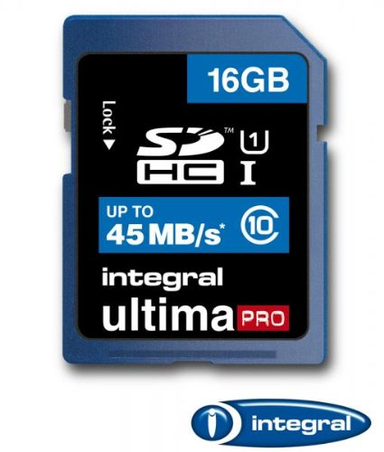 - Integral 16GB Ultima Pro SDHC 45MB/sec CL10 High-Speed (UHS-1) memory card