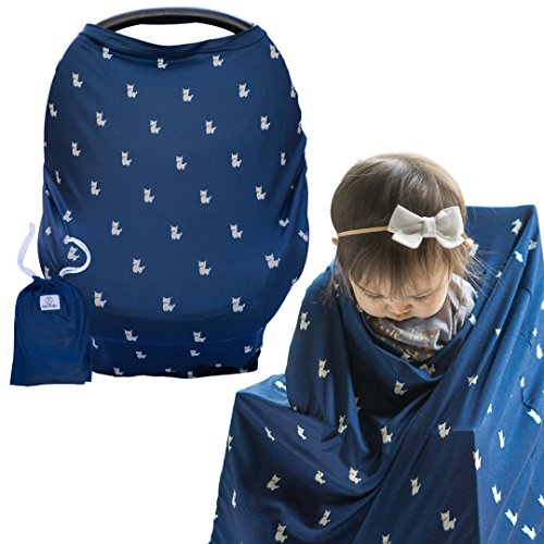 """Multi-Use Nursing Cover by Alpy Baby for Breastfeeding, Baby Car Seat, Shopping Cart and High Chair - """"Navy with Alpacas"""" - Super Soft and Stretchy - Perfect Baby Shower Gift for Boys and Girls"""