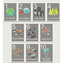 Our World Counting Cards in Spanish, Number Flash Cards, Set of Ten 5x7 Wall Art Prints, Nursery Wall Decor, Kid's Art Decor, Gender Neutral Nursery, Nature Themed, Woodland Nursery, Playroom Decor by Children Inspire Design
