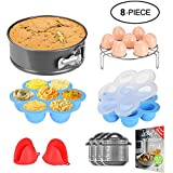 Missalis 8 Pcs Accessories Set for Instant Pot Fits 5,6,8Qt Instant pot Pressure Cooker with Egg Steamer Rack, Non-stick Springform Pan, Egg Bites Molds, Silicone Cooking Pot Mitts, Cheat Sheets