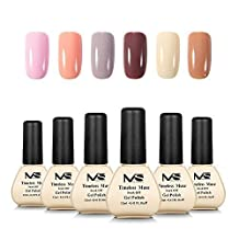 MelodySusie Gel Nail Polish Set, Timeless Muse 1 Step Nail Gel Kit, Six Colors, Long Lasting, No Base and Top Coat Needed, Quick Curing with LED or UV Nail Dryer, Easy Soak Off
