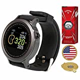 AMBA GolfBuddy WTX Golf GPS/Rangefinder Smart Watch (40k+ Preloaded Worldwide Courses) Bundle with 1 Sleeve (3 Balls) Callaway Chrome Soft and Magnetic Hat Clip Ball Marker (USA Flag)