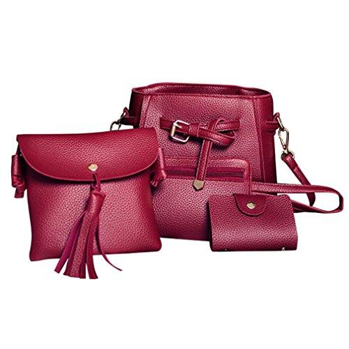 Four Set Women Handbag Shoulder Bag Four Pieces Tote Bag Crossbody Wallt by VESNIBA