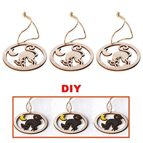 3pcs Halloween Wood Chip - Round Wooden Hanging Pendant Craft Decoration Pumpkins Witch Haunted House Ghost Black Cat Shape DIY Ornaments Home Holiday Decoration]()