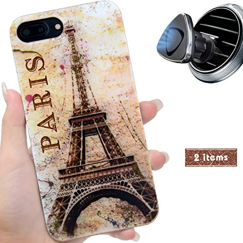 (iProductsUS Wood Phone Case Compatible with iPhone 8,7,6/6S and Magnetic Mount, UV Print Colorful Eiffel Tower Wooden Cases,Built-in Metal Plate,TPU Rubber Protective Cover (4.7)