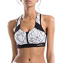 Yvette Zip Front Geometric Design High Impact Wirefree Sports Bra HM0130001