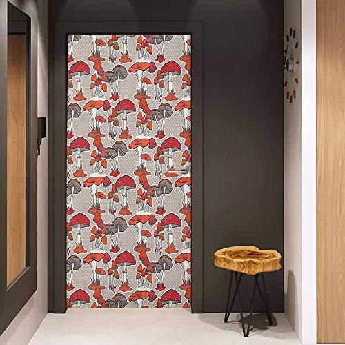 Toilet Door Sticker Mushroom Mushrooms Pattern Healthy Edible Autumn Jungle Trees Natural Organic Vegetable Glass Film for Home Office W23.6 x H78.7 Red Orange Tan