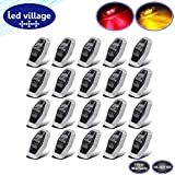 """LedVillage 2.5"""" Smoked Lens 10 Amber + 10 Red LED F3 Piranha Super Bright Side Marker Lights 2 Diodes for Camper Lorry Bus Truck Trailer Cabin RV SUV Shockproof 10-30v DC w/Chrome AA1030 [Pack of 20]"""