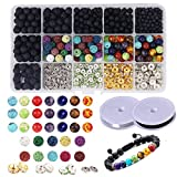 Dushi 600 PCS Lava Bead Bracelet Lava Bead Kit Set Bulk Black Lava Rock Stone Essential Oil Beads Diffuser Balls Kit Set for DIY Jewelry Making Bracelet Necklace with Storage Box and Elastic Crystal String (Total 600 pcs)