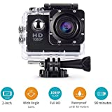 Action Camera,cresawis Sport DV 1080P Mini 30-Meter Waterproof 2 inch TFT LCD HD 5MP Helmet Camera Cam Extreme Action Camcorder With Battery, Charger and Accessories (Black) (Black)