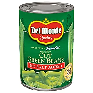 Del Monte Canned Fresh Cut Blue Lake Green Beans, No Salt Added, 14.5-Ounce Cans (Pack of 24)