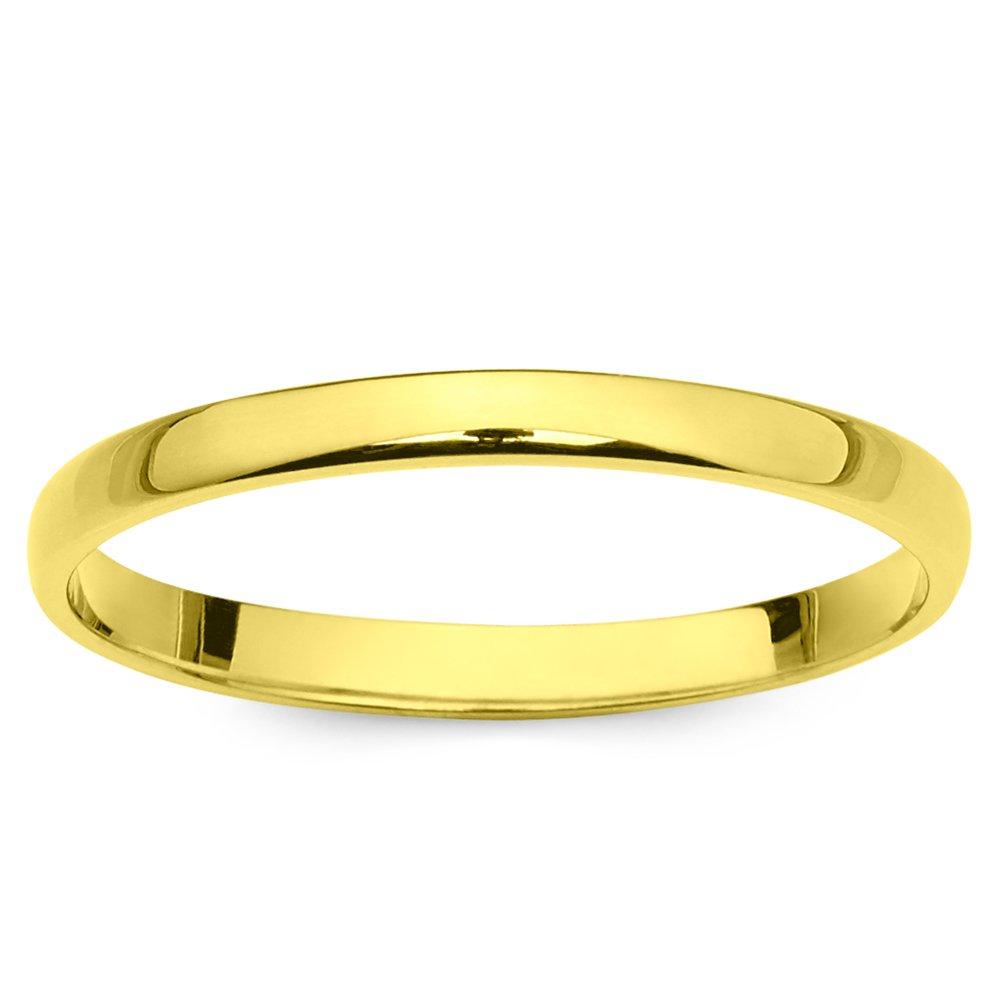 14k Yellow Gold 2mm Light Comfort Fit Plain Wedding Band - Size 7