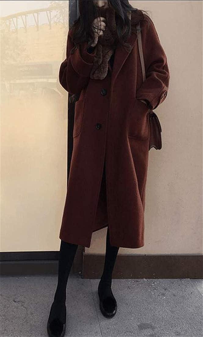 C/&H Womens Overcoat Lapel Solid Fall//Winter Slim Fit Wool Pea Coat