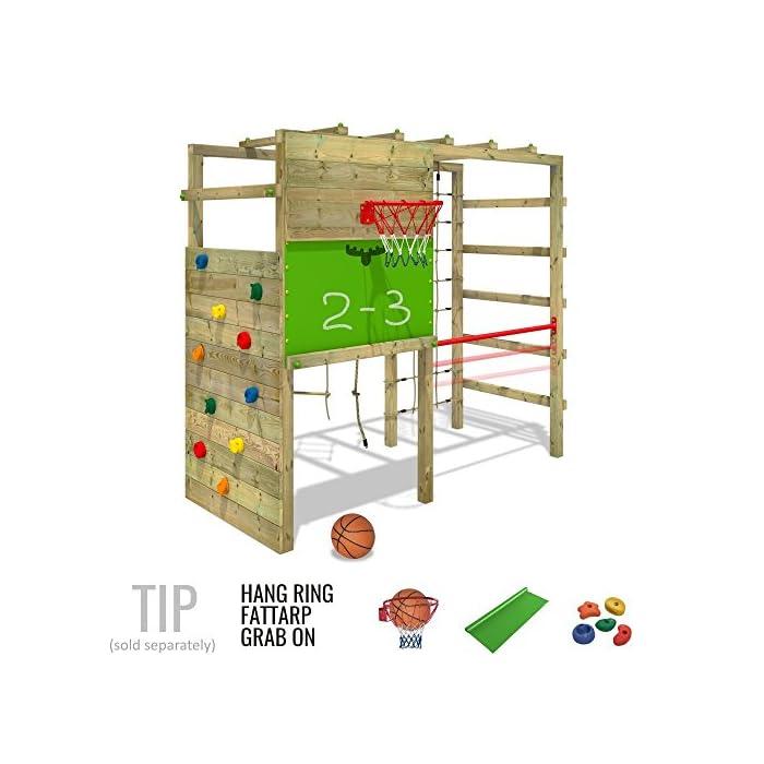 51N4oJ4gJXL XXL Parque infantil en diseño colorido incluido set de accesorios con instrucciones de montaje sencillas y detalladas Madera maciza impregnada en clave, de fácil mantenimiento - Postes verticales de 7x7cm - Made in Germany Calidad-y- seguridad verificadas - 10 años de garantía* para todos los elementos de madera - Con red para trepar