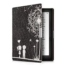 kwmobile Elegant synthetic leather case for the Kobo Aura Edition 1 Design dandelion love in white black