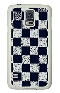 Blue and white checkered background Custom Samsung Galaxy S5/Samsung S5 Case Cover Polycarbonate White
