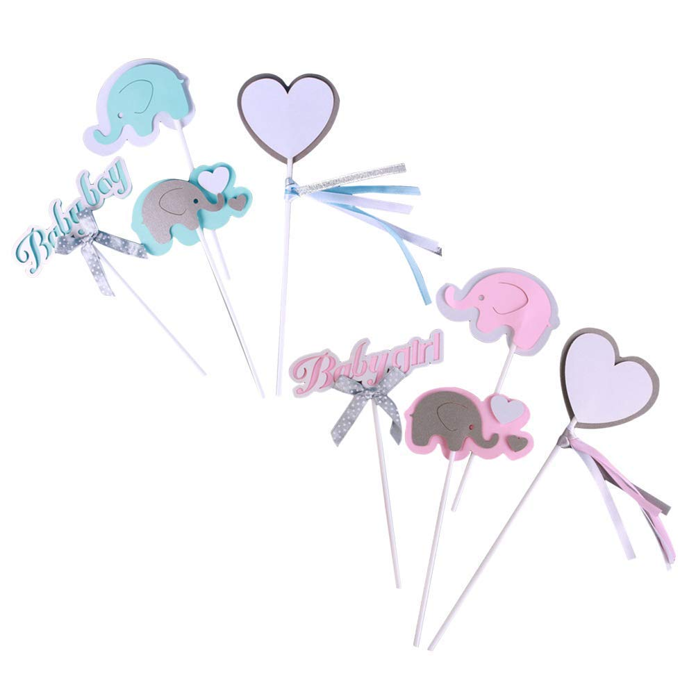 DollylaStore Éléphant rose gâteau topper bébé éléphant sur le thème de cupcakes choix garçon fille bébé douche fête d'anniversaire décorations fournitures, paquet de 8