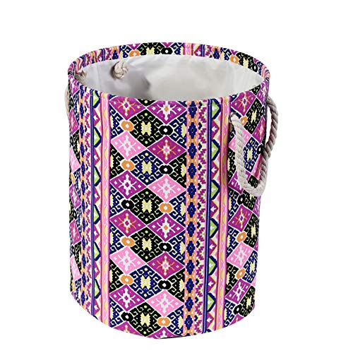 AOLIWEN Thickened Polyester Cotton Waterproof Fabric Laundry Basket- with Soft Linen Rope Handle Waterproof Round Cotton Linen Collapsible Storage Basket (Colorful, 17.7'' H) (Colorful Laundry Baskets)