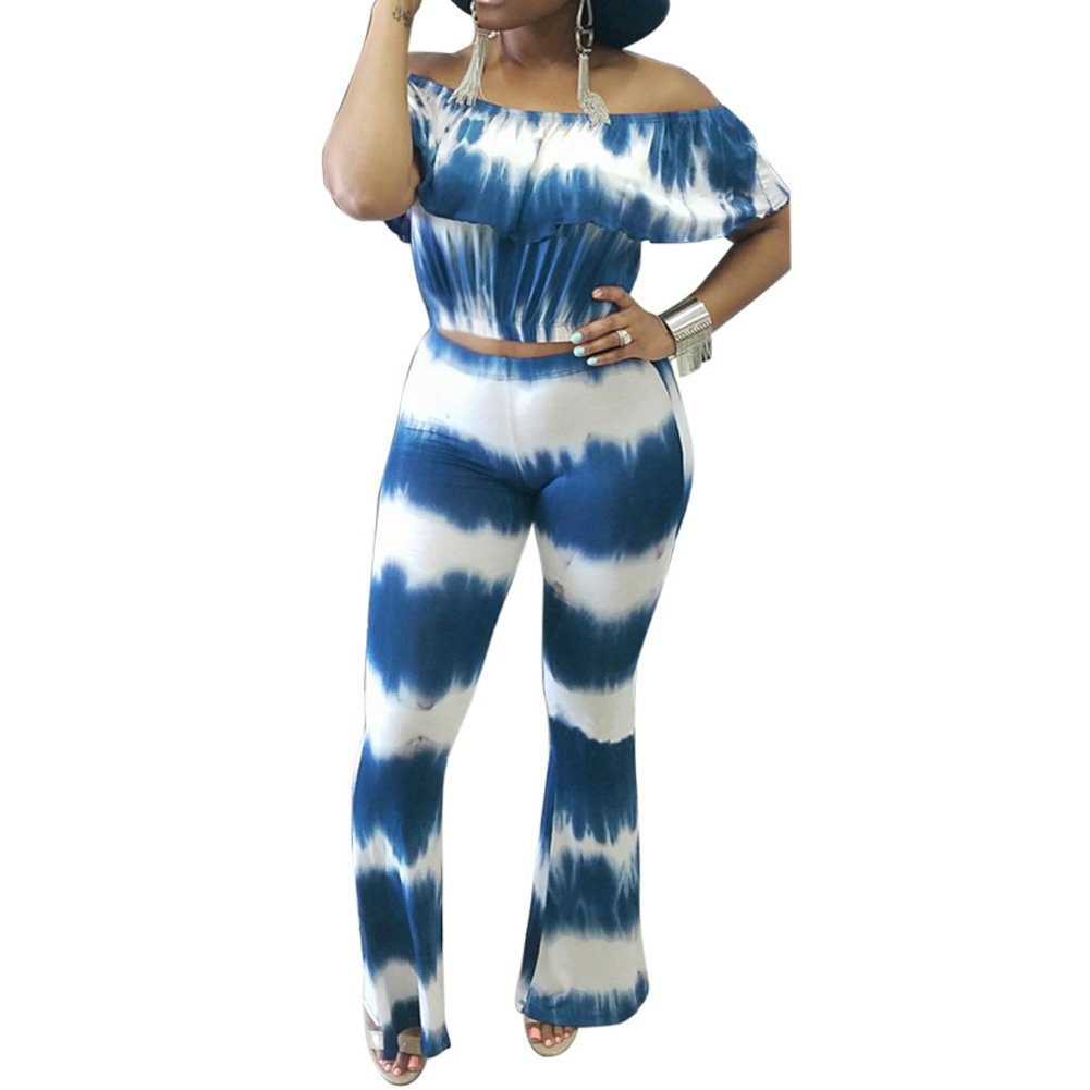 Slim Bloom Women's Floral Two Piece Outfits Off Shoulder Crop Top and Pant Set Blue 3XL