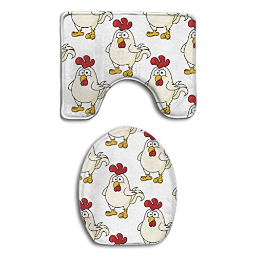 SWEET TANG Chicken Cute 2 Piece Bathroom Rug Bath Mat Set Co