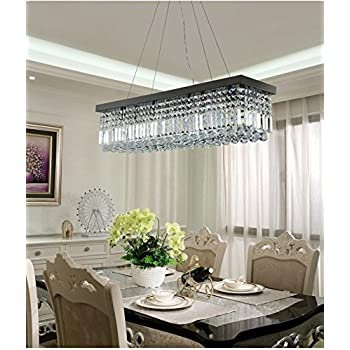 Moooni modern rectangular k9 crystal chandelier lighting dining room pendant lighting painted black finish l39 5 x w10 x h10