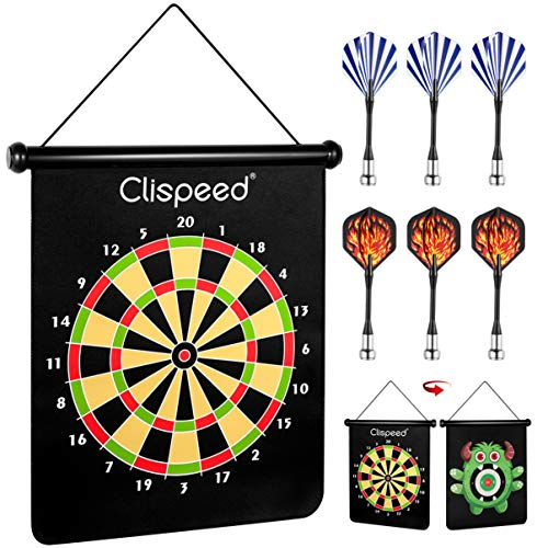 6 Magnetic Darts - CLISPEED Magnetic Dart Board Game Set Reversible Rollup Dartboard with 6 Safe Darts for Indoor Outdoor Fun