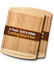 Large Cutting Boards with Juice Groove - Set of 2 Bamboo Wood Cutting Board, Kitchen Chopping Board for Meat, Vegetables, Fruit and Cheese - Charcuterie Serving Tray - XL 44.45 x 33.02 Centimeters