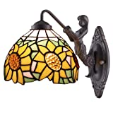 Amora Lighting AM1074WL08 Tiffany Style Sunflower Wall Sconce Lamp Fixture
