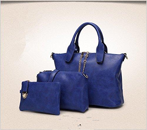 Rrock Bolsos De Moda De Bolsos Bolso De Hombro De Tres Piezas Bolso De Mujer De Madre,Purple Blue