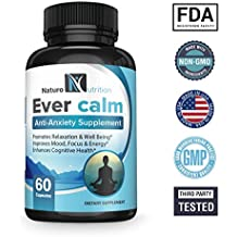 EVER CALM Soothing Stress Relief Supplement Herbal Blend for Anti Anxiety & Increased Serotonin Levels ~ with Ashwagandha, Rhodiola, L-Theanine, St. John's Wort & B Vitamins by Naturo Nutrition