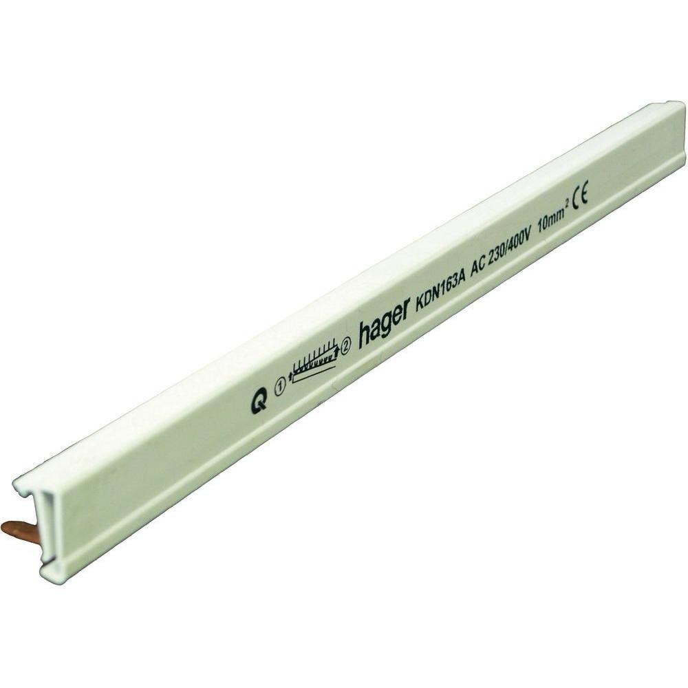 Hager KDN163A Phasenschiene 1P 63A 10qmm 12 Einh.Gabelanschluss isoliert grau