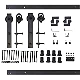 Woodside Sliding Barn Door Hardware, 10FT Double Door Kit, Classic Roller, Black Tracks, Ideal for Indoor and Outdoor Use, Included Self-Explanatory Installation Manual.