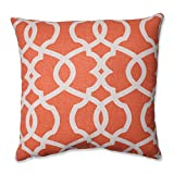 Pillow Perfect Lattice Damask Tangerine Throw Pillow, 16.5-Inch
