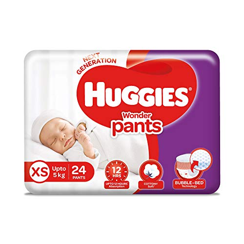 Huggies Wonder Pants Diapers New Born Baby Extra Small XS Size 24 Pieces at best price