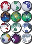"Unique & Custom {7/8'' Inch} Set Of 50 Big ""Round"" Opaque & Clear Marbles Made of Glass for Filling Vases, Games & Decor w/ Vibrant Educational Rainbow Earth Globe Cool Design [Assorted Colors]"