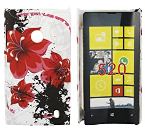 Kit Me Out CA Hard Clip-on Case + Screen Protector with MicroFibre Cleaning Cloth for Nokia Lumia 520 - Oriental Flowers