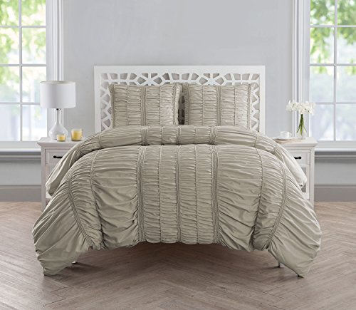 VCNY Home Holly Technique 3 Piece Ruched Design Duvet Cover Set, King, Taupe