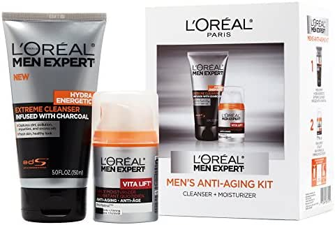 L'Oréal Paris Men Expert Anti-Aging Set including Facial Cleanser with Charcoal and Anti-Wrinkle & Firming Face Moisturizer with Pro-Retinol , 1 kit