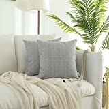 Decorative Pillow Cover - Kevin Textile Decorative Classic Retro Checkered Pillow Covers Plaids Simple Style Cushion Case Linen Square Throw Pillowcase for Sofa Car Bed, Set of 2, 18 x 18 Inch, Glacier Grey