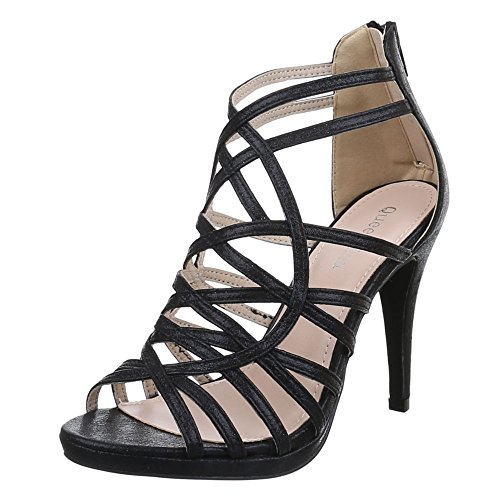 Damen Schuhe, B561-SP, SANDALETTEN, HIGH HEELS PUMPS, Synthetik , Schwarz, Gr 39