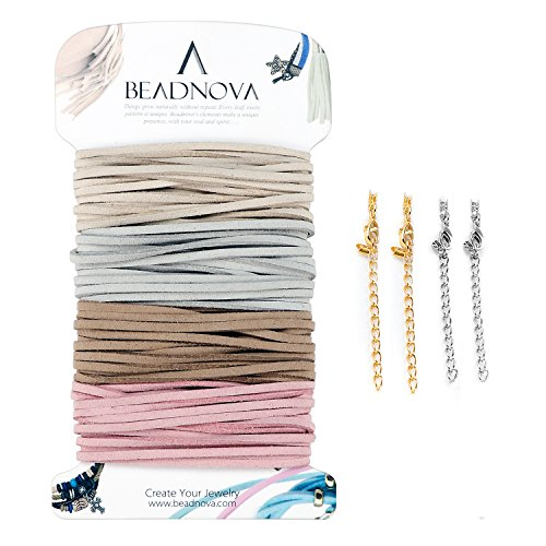 (BEADNOVA Flat Leather Cord Fiber Lace Faux Leather Suede Cords Leather Strip Flat Thread String for Jewelry Making and Bracelets (4 Colors, 3.3yard, 3mm))